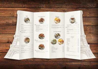 Poulet Restaurant Menu Design – Back Open View