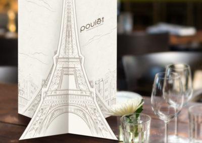 Poulet Restaurant Menu Design – Standing Menu
