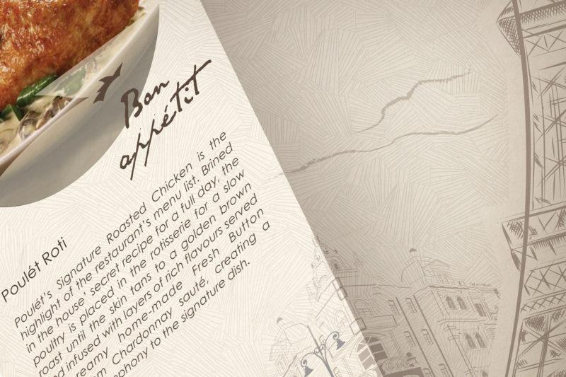 Leow HouTeng Design Portfolio - Poulet Restaurant Menu - Closeup