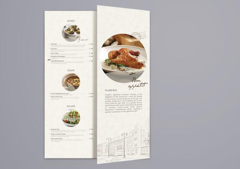Leow HouTeng Design Portfolio - Poulet Restaurant Menu - Design B 2