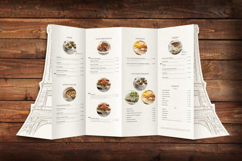 Leow HouTeng Design Portfolio - Poulet Restaurant Menu - Open Back