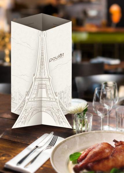 Design and Digital Marketing Portfolio - Poulet Restaurant Menu - Standing 2 - Leow Hou Teng