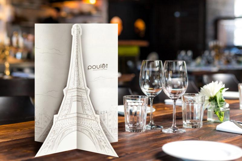 Leow HouTeng Design Portfolio - Poulet Restaurant Menu - Standing
