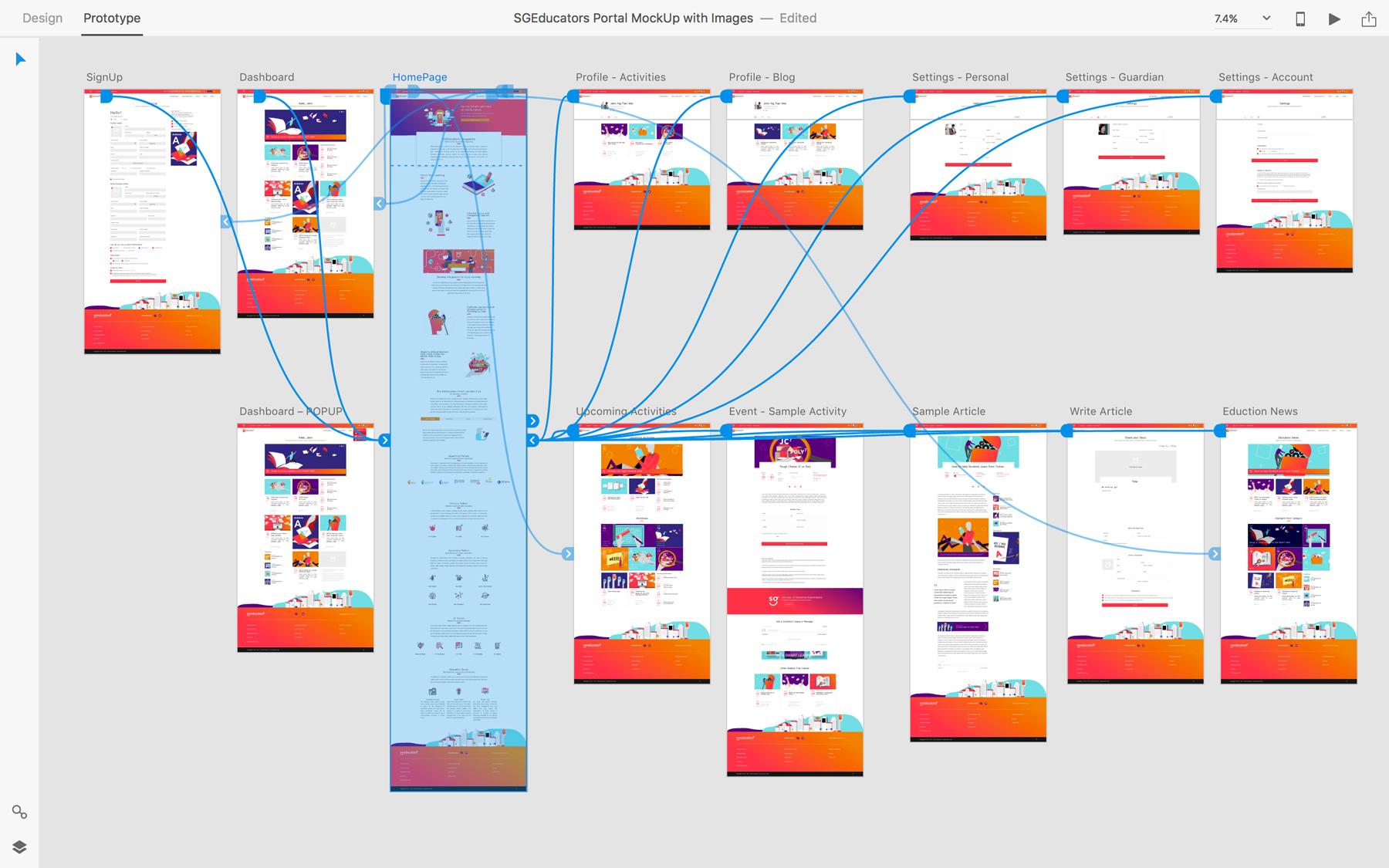 Design and Digital Marketing Portfolio - SGEducators Tuition Portal Development - Adobe XD Mockup 2