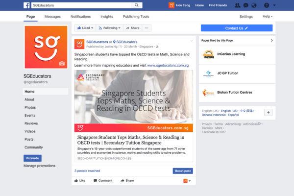 Design and Digital Marketing Portfolio - SGEducators Tuition Portal Development - Facebook Content Marketing