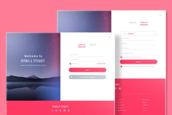 Design Portfolio Leow Hou Teng - Mobile Studies Learning Management System - Sign In Sign Up Page Design